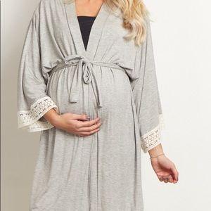 Pinkblush Crochet Trim Maternity Delivery Robe